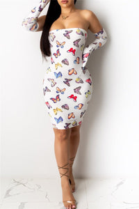 Butterfly Printed Bandage Dress - ezcute