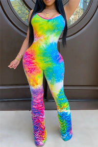 Tie Dye Ruched Jumpsuit - ezcute