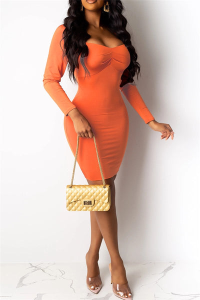 Solid Color Ruched Dress - ezcute