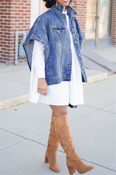 Plus Size Denim Jacket With Pockets - ezcute
