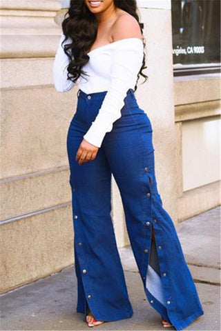 High Waist Split Denim Pants
