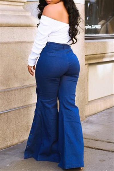 High Waist Split Denim Pants - ezcute