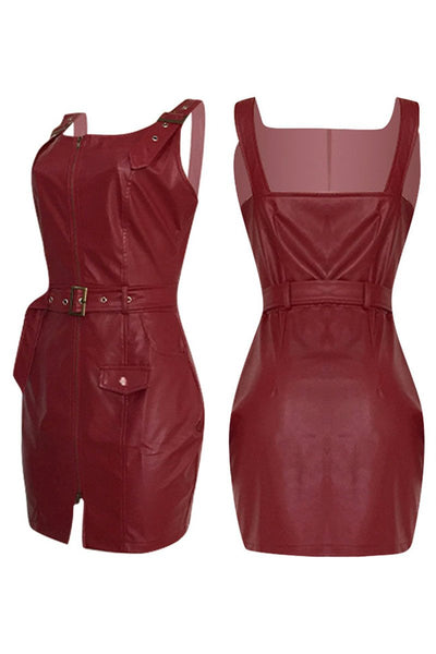 PU Zipper Cami Dress With Belt - ezcute