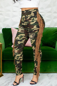 Plus Size Camo Distressed Denim Pants