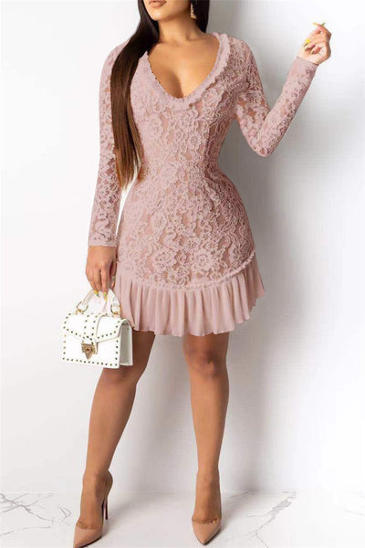 Hollow Out Back Lace Dress - ezcute