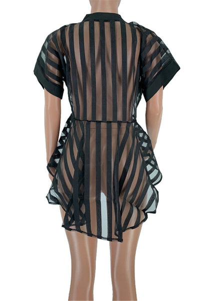 Net Yarn Stripe Sheer Shirt - ezcute