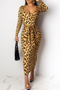 Leopard Printed Wrap Maxi Dress - ezcute