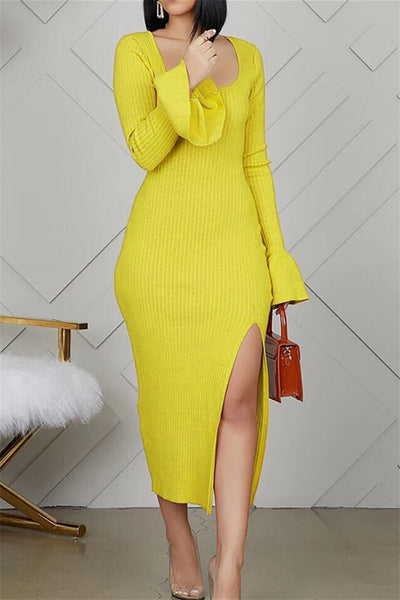 Solid Color Split Dress - ezcute
