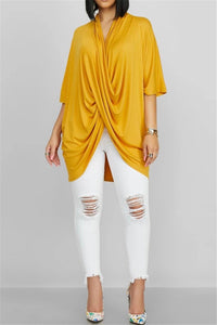 Solid Color Bat Sleeve Top - ezcute