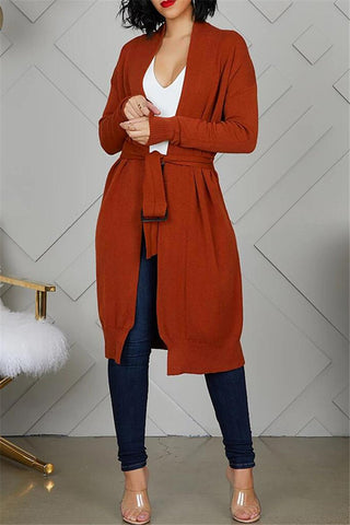 Solid Color Knitted Cardigan With Belt