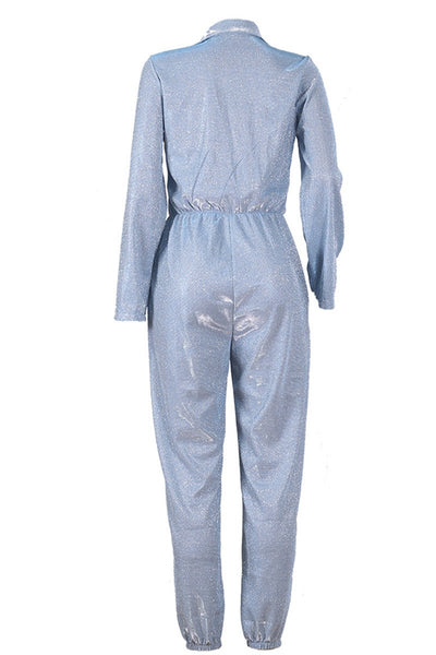 Casual Shining Jumpsuit With Pockets - ezcute