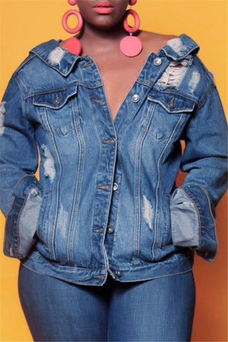 Distressed Back Zipper Denim Jacket - ezcute