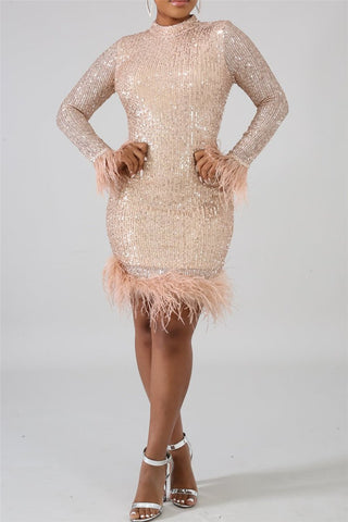 Sequins Feather Splicing Party Dress - ezcute