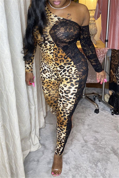 Lace Splicing Leopard Printed Jumpsuit