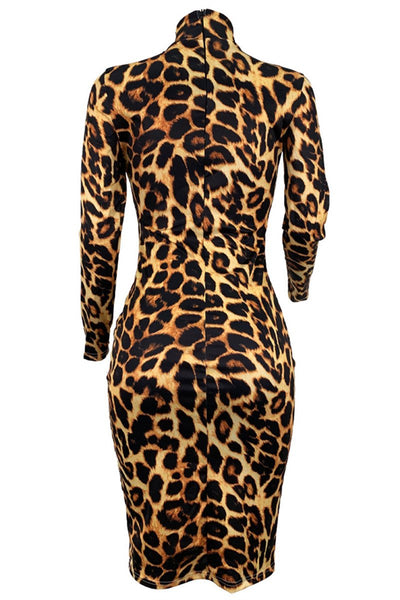High Collar Leopard Printed Dress - ezcute