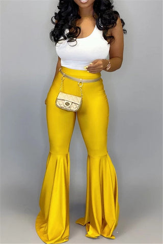 Solid Color PU Flares Pants - ezcute