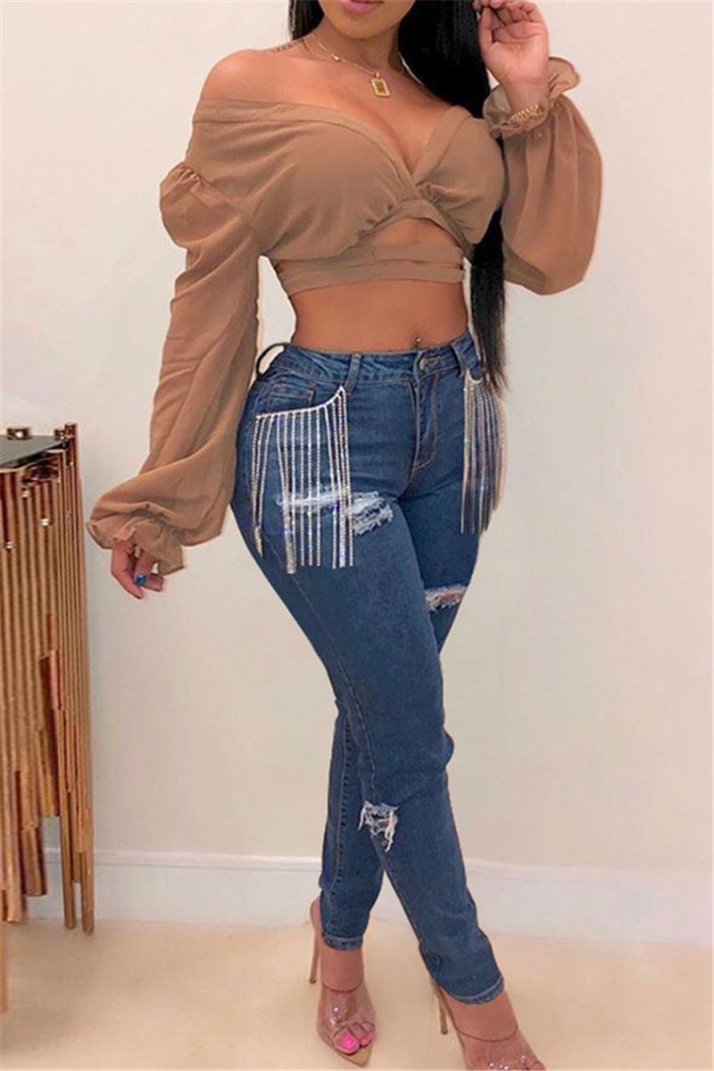 Tassel Splicing Distressed Denim Pants - ezcute