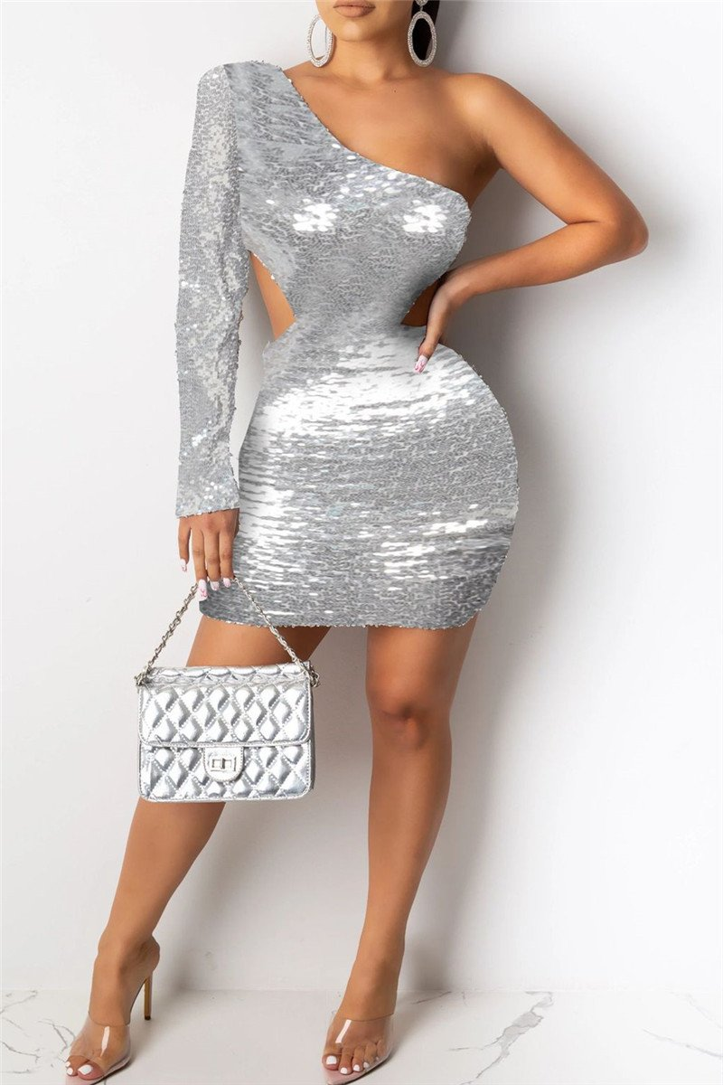 One Sleeve Sequin Party Dress - ezcute