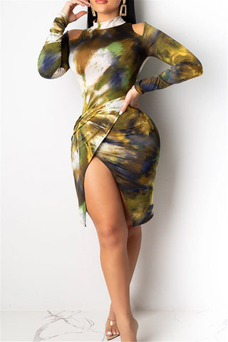 Tie Dye Ruched Split Dress