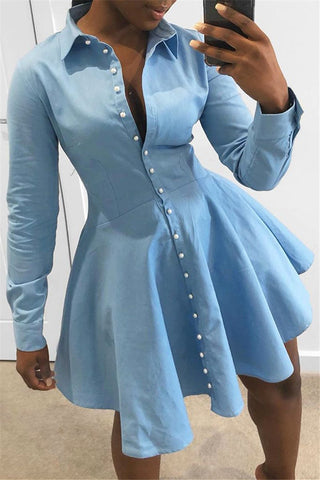 Solid Color Irregular Hem Shirt Dress