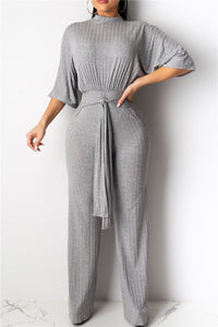 Casual Solid Color Bandage Jumpsuit