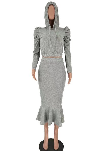 Ruched Hoodie& Fishtail Skirt Sets - ezcute