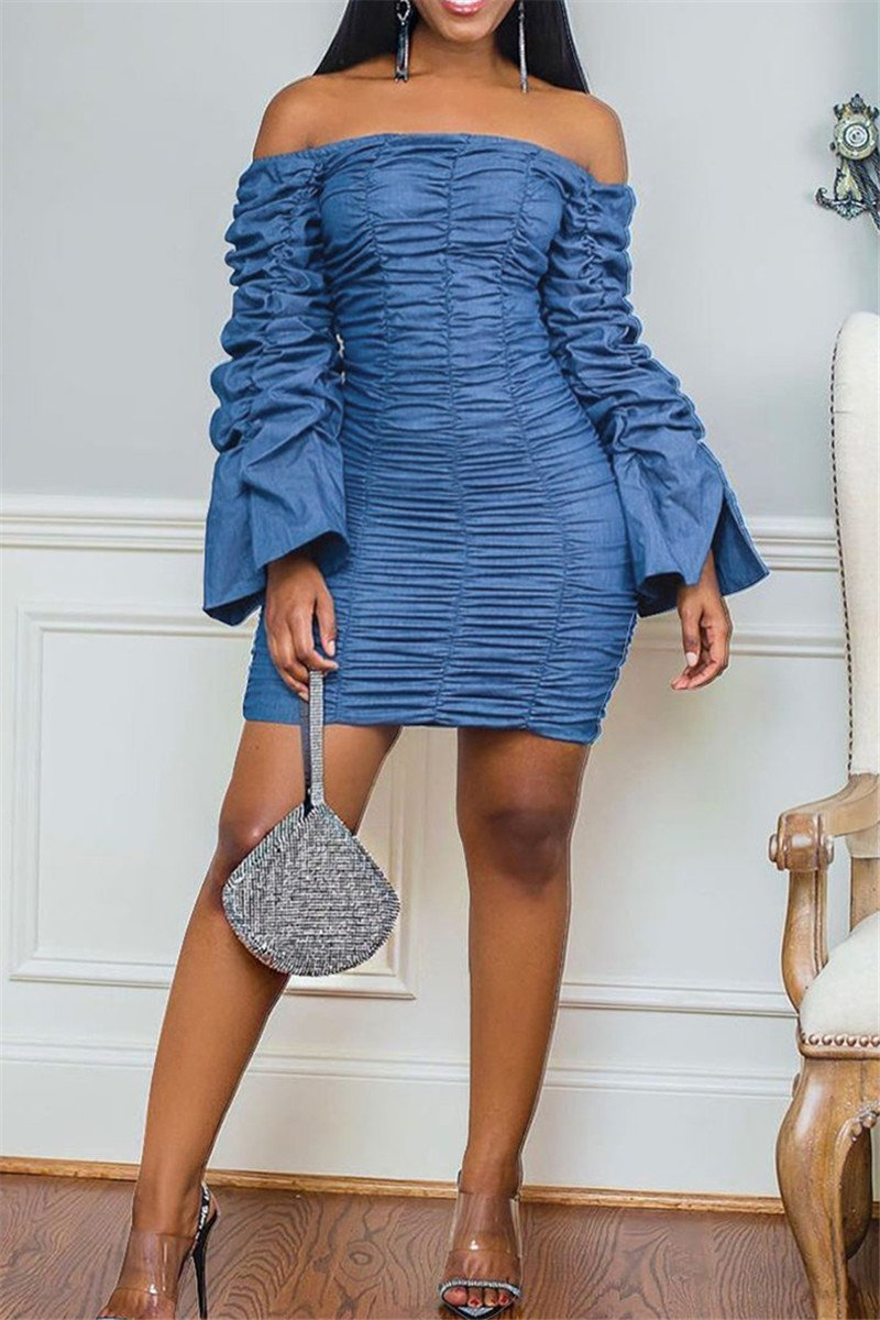 Off Shoulder Ruched Denim Dress - ezcute