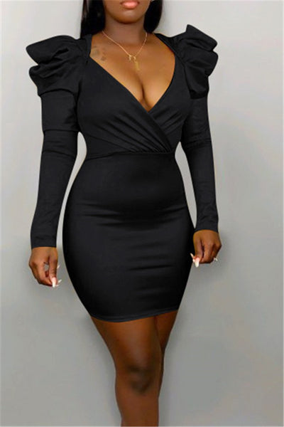 Plus Size Puff Sleeve Dress - ezcute
