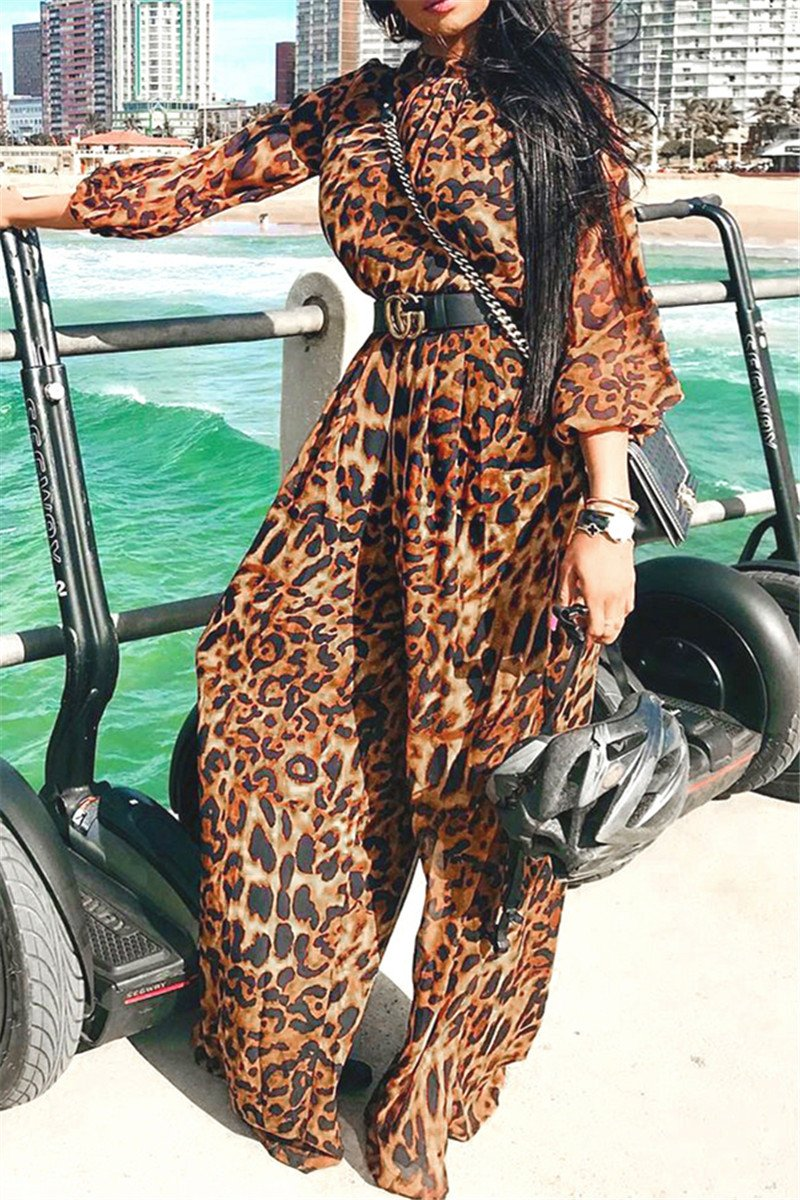 Casual Leopard Printed Ruched Jumpsuit - ezcute