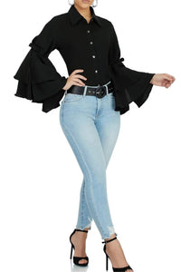 Solid Color Flounce Sleeve Shirt - ezcute