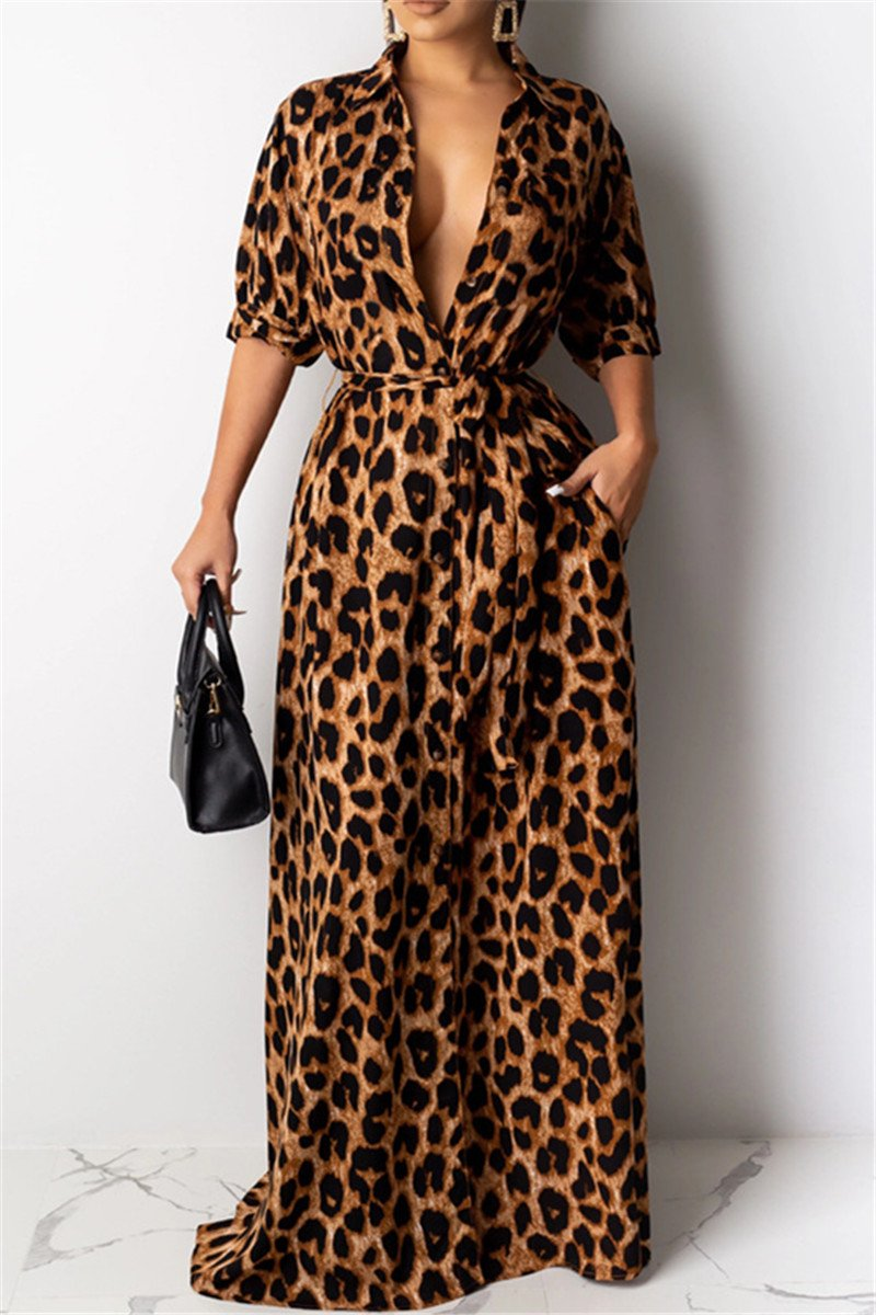 Leopard Printed Shirt Dress With Belt - ezcute