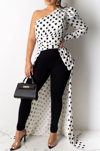 Irregular Hem Polka Dot Top - ezcute