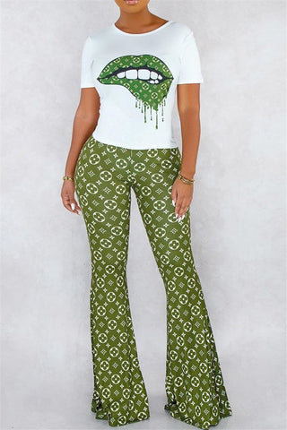 Printed Top& Flares Pants Sets - ezcute