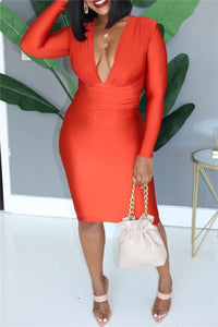 Solid Color V Neck Dress - ezcute