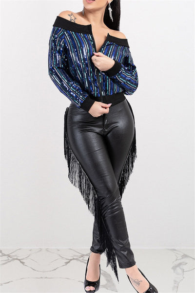 Sequin Splicing Zipper Jacket - ezcute
