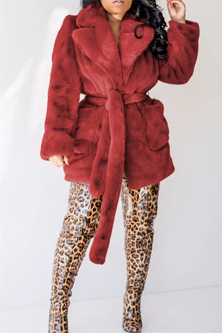 Rabbit Fur Coat With Belt - ezcute