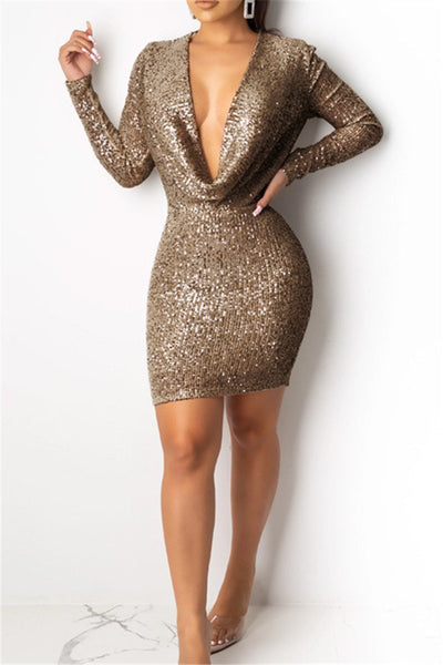 Sequin Splicing Party Dress - ezcute