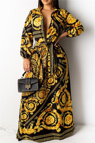 Printed Maxi Shirt Dress With Belt - ezcute