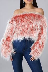 Off Shoulder Color Changing Fur Top