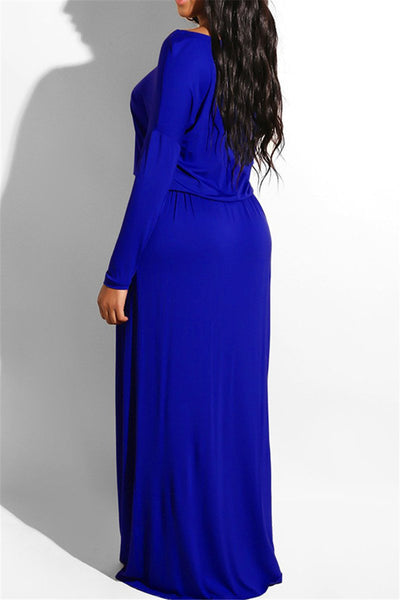 Solid Color Drawstring Maxi Dress - ezcute