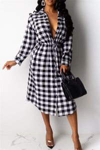 Lattice Printed Drawstring Shirt Dress - ezcute