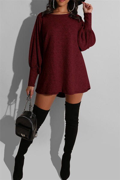 Solid Color Lantern Sleeve Dress - ezcute