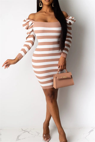Ruched Shoulder Stripe Printed Dress - ezcute