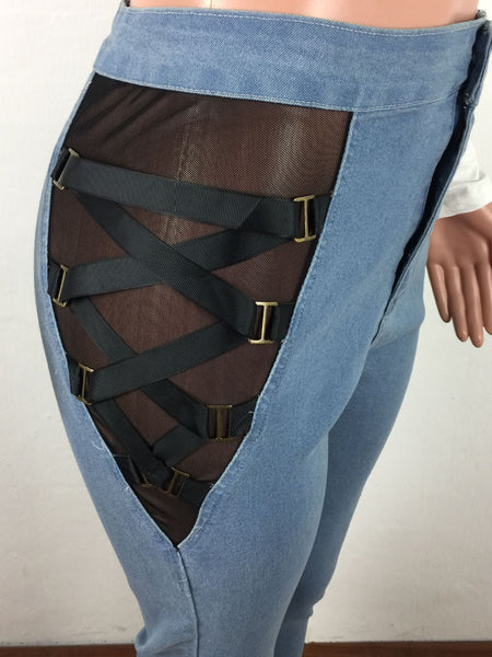 Net Yarn Splicing Bandage Denim Pants - ezcute