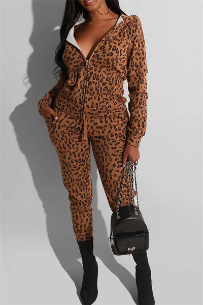 Leopard Printed Hooded Sets - ezcute