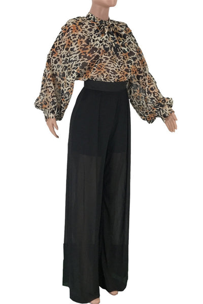 Leopard Printed Net Yarn Splicing Jumpsuit - ezcute