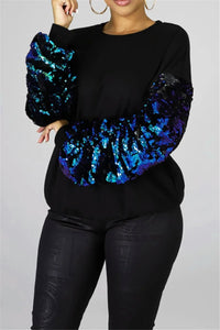 Casual Sequin Sleeve Splicing Top - ezcute