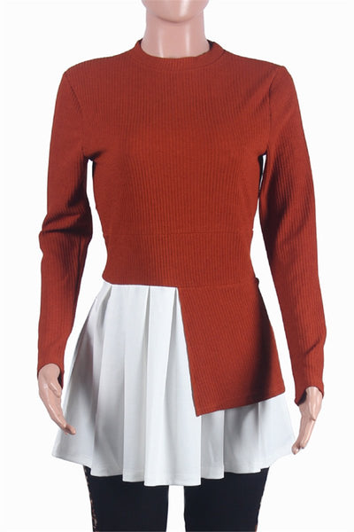 Color Splicing Pleated Sweater Top - ezcute