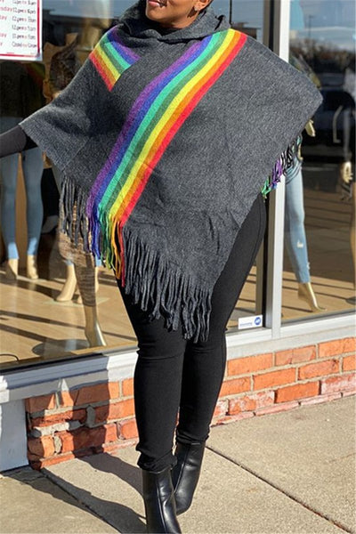 Rainbow Stripe Tassel Splicing Cloak - ezcute
