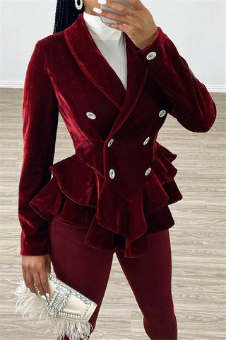 Double Breasted Flounce Velvet Blazer - ezcute